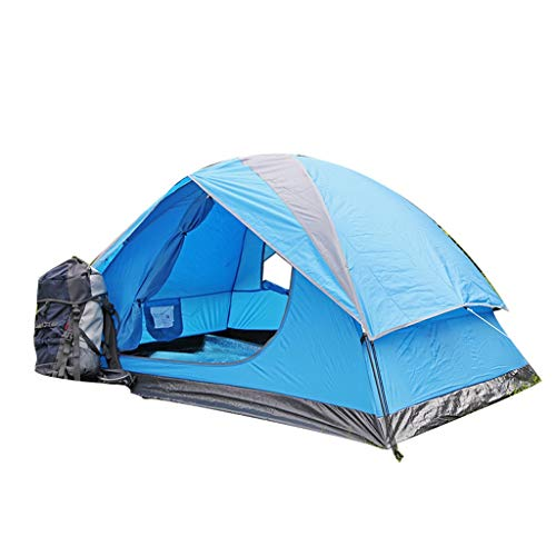 HUIYAN Camping Tents, 2-3 Person Outdoor Dome Tent | Tents Waterproof Windproof Light Level Home | For Outdoor Camping, Blue