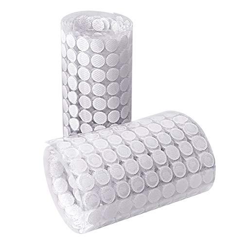 HAUSPROFI 1008 Stück 10mm Klettpunkte Selbstklebend, 504 Paar Self Adhesive Klett Klebepunkte Geeignet für Papier, Kunststoff, Glas, Leder, Metall, Kleidungsstücke (Weiß)