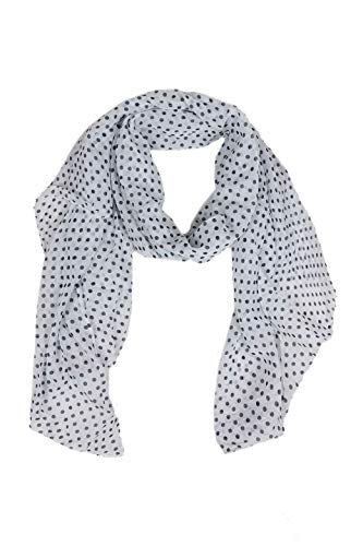 Zwillingsherz Seiden-Tuch im Punkte Design - Hochwertiger Schal für Damen Mädchen - Halstuch - Umschlagstuch - Loop - weicher Schlauchschal für Frühjahr Sommer Herbst und Winter - weiß