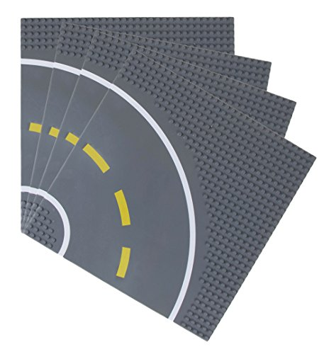 Strictly Briks - Bauplatten Straße mit Kurve - Bauplatten für Straßen, Städte, Garagen & mehr - 100 % kompatibel mit Allen führenden Marken - 10 x 10 (25,4 x 25,4 cm) - 4 Stück