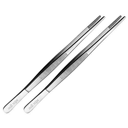 May - Set - 2 x Technische Pinzette gerade - 20 cm - Modellbau Pinzette - Elektriker Pinzette - Industrie-Pinzette - Edelstahl