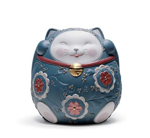 LLADRÓ Figura Maneki Neko II. Figura Maneki Neko (Gato De La Suerte) de Porcelana.