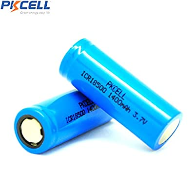 3.7V 1400mah ICR18500 Li-Ion Rechargeable Batteries With Flat Top(Blue)