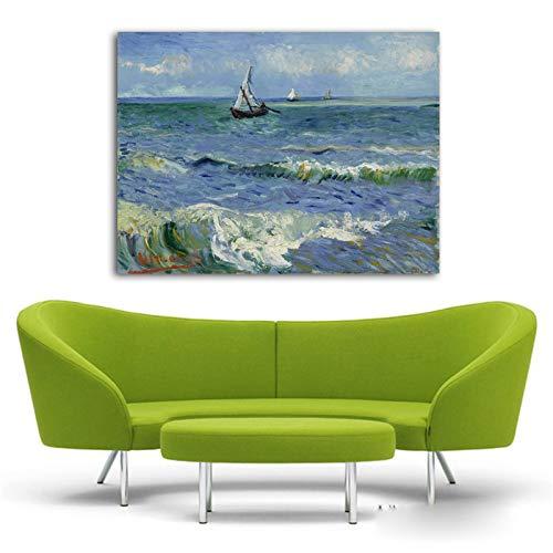 XWArtpic Quadri Famosi Quadri Astratti su Tela Van Gogh Seascape Barca a Vela Wave Pittura ad Olio Stampe d'Arte Soggiorno Decorazione Camera da Letto A 50 * 70cm