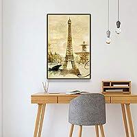 キャンバスペインティング パリフランスシティプリントレトロポスターヴィンテージキャンバス絵画クラシックウォールアートポスターとプリント北欧の家の装飾 50x75cm