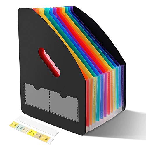 LOETAD Clasificadores Carpetas de Acordeón Vertical Portátil Organizador de Archivos Retráctil con...