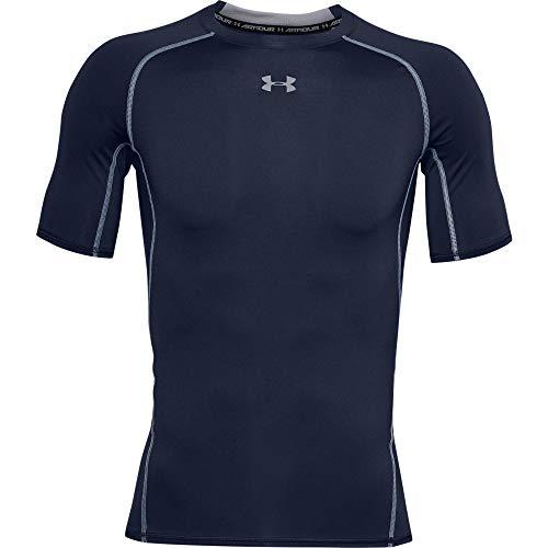Under Armour Men's HeatGear Armour Short Sleeve Compression T-Shirt, Midnight Navy (410)/Steel, Small