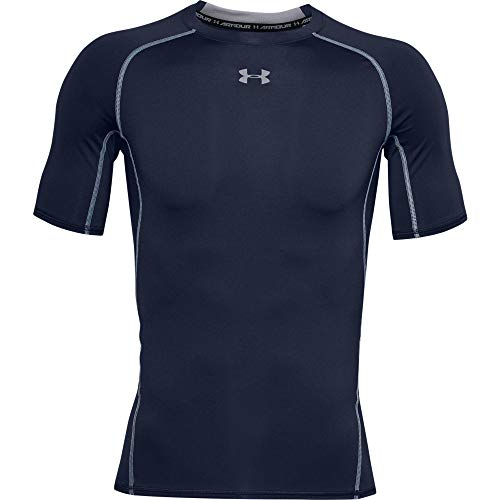 Under Armour Men's HeatGear Armour Short Sleeve Compression T-Shirt, Midnight Navy (410)/Steel, Medium