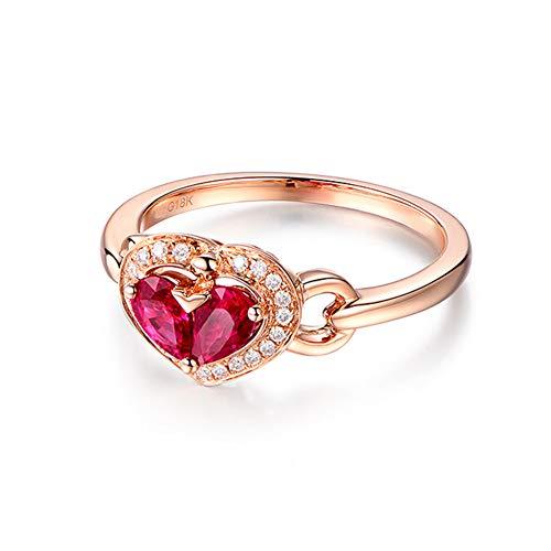 Gems.RDX Forma de Corazón Anillo de Eternidad para Mujer 18K Oro Rubí Zafiro Diamante Anillos Compromiso de Boda, Ruby,O