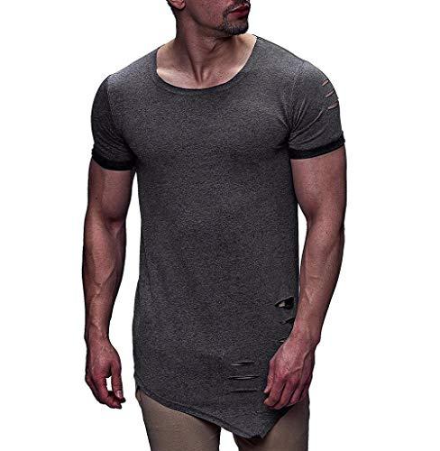 Tomatoa Herren Kurzarm-Shirt Top Sommer T-Shirt Sweatshirt Slim Fit Kurzarmshirt O-Neck Longshirt Sportswear Männer Freizeit Kurzarm Shirt Sweater Kapuzenpullover M - 3XL