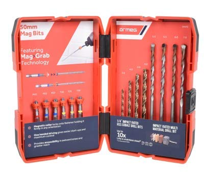 Armeg TW14PCSET, Twister, Mag, Magnetic Drill bit, Cobalt, HSS, Red