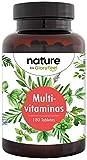 Multivitaminas 180 Tabletas - Vitaminas y minerales de la A-Z - Vitamina C de Acerola - Complejo vitamínico premium altamente biodisponible - 6 meses - Producción probada en laboratorio en Alemania