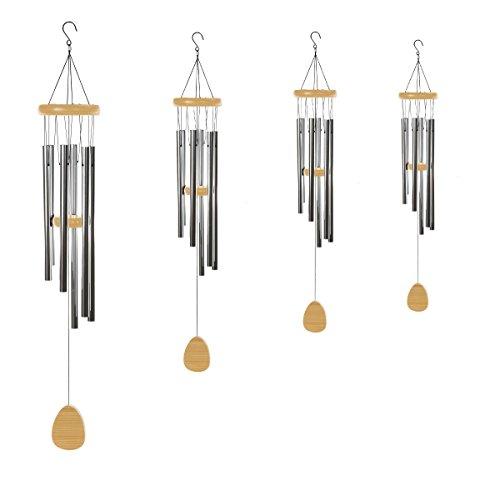 Klangspiel 96 cm mit 6 Klangröhren großes Windspiel Natur Mobile - 3