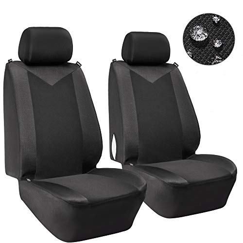 Elantrip Waterproof Front Car Seat Covers Water Repellent Bucket Seat Cover Universal Fit Airbag Armrest Compatible for Auto SUV Truck Van, Black 2 PC