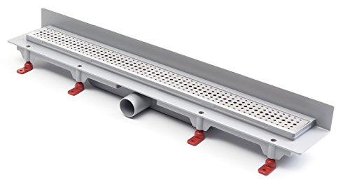 Duschrinne Bodenablauf Edelstahl Ablaufrinne Badablauf flach 65cm, Modell: Basic-Wandmontage