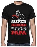 Green Turtle Camiseta para Hombre - Regalos para Hombre, Regalos para Padres Originales, Regalo Padre Divertido - Mi Papá es mi Súper Héroe - Large Negro