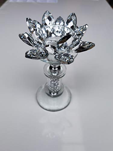 Sunburst Flower Crushed Diamond Crystal candle holder Tealight holder Clear Silver Crystal Glass Tall Pillar Taper Candle Holder Home Decor Wedding 17cm