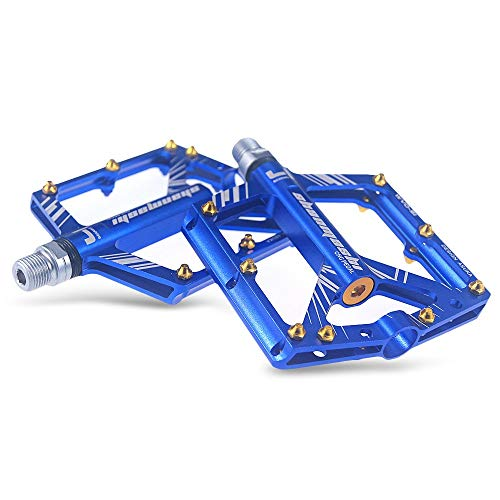 HCHD Pedal de Bicicletas Antideslizante del Pedal de aleación de Aluminio CNC BTT Bicicleta de montaña Cerrados, provistos Pedales Ciclismo Accesorios (Color : Blue)