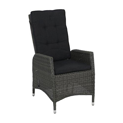 greemotion Chaise de Jardin Las Vegas, Fauteuil de Jardin en Polyrotin, Fauteuil Résine Tressée, Dossier Haut Réglable, env. 59 x 111 x 66 cm, Gris/Anthracite