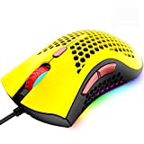 Wired Lightweight Gaming Mouse,Ultralight Honeycomb Shell Ultraweave Cable,7 Buttons Programmable Driver,Pixart 3325 12000 DPI,10 RGB Backlit Computer Mouse for PC Gamers,Xbox,PS4 Users(Yellow)