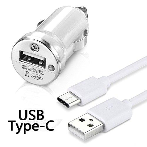 Karylax - Cargador de coche adaptador para encendedor de coche, cable USB tipo C, longitud 1 m, color blanco para Samsung Galaxy A5 2017