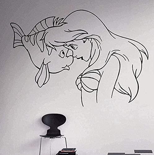WJUNM Vinyl Wall Stickers Wall Decoration Home Decoration Male Art Little Princess Ariel Nursery Decoration 83X58Cm