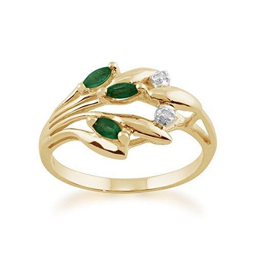Gemondo Emerald Anillo, 9CT Oro Amarillo 0,17ct Natural Esmeralda & Diamante Floral Anillo