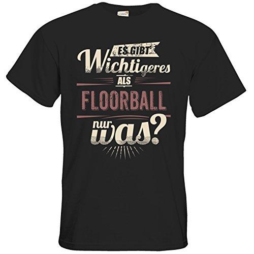 getshirts - Rahmenlos® Geschenke - T-Shirt - Es gibt wichtigeres als Floorball - Sport red - Black L