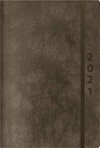 ReLeather Daily anthrazit 2021: Terminplaner groß. DIN A5 Termin-kalender mit Vintage-leder und Tageskalendarium.