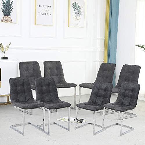Set di 8 sedie da pranzo in pelle moderna per interni e cucine con gambe in metallo, comode sedie laterali con morbide poltrone imbottite, per soggiorno, soggiorno, soggiorno, angolo