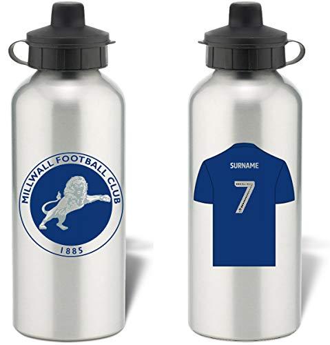 Millwall FC Sport-Trinkflasche aus Aluminium, personalisierbar, silberfarben