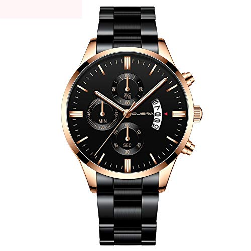 Review Muranba Watches CUENA Men Fashion Stainless Steel Analog Date Sport Quartz Wrist Watch