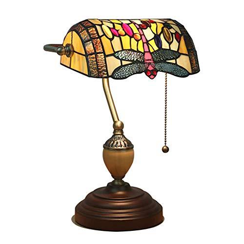 ZHANGDA Kreativ Libelle Tiffany Stil Tischlampe, E27 Traditionellen Banker Lampe Barock Tischleuchte Glas Nachttisch schreibtischlampe Holz Schalter ziehen-Dragonfly 39cm(15inch)
