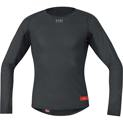 Gore Bike Wear Base Layer Windstopper Termo - Camiseta de ciclismo para hombre, color negro, talla M