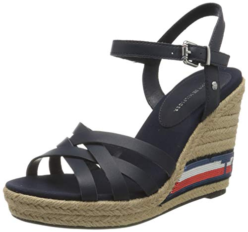 Tommy Hilfiger Damen Tommy Sequins HIGH Wedge Peeptoe Sandalen, Blau (Sport Navy Db9), 41 EU