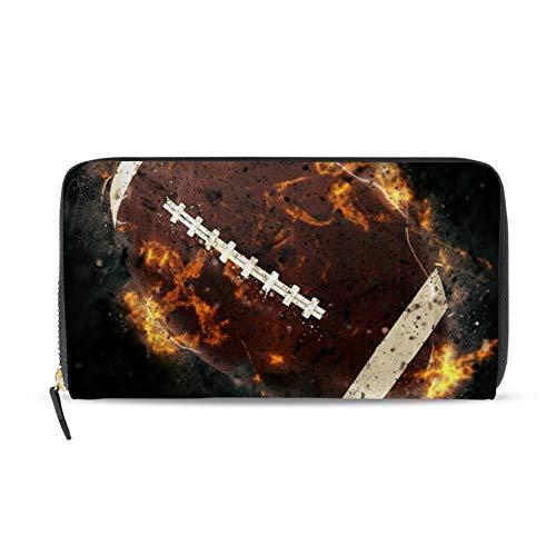 iRoad - Cartera de cuero para mujer, diseño de pelota de rugby, pintura de fuego, tarjetero y bolsillo para monedas, personalizable, para mujeres y niñas