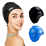 Seago Swim Caps 2 Pack for Women Men Swimming No-Slip Waterproof Protect Ears Premium Silicone Swim Cap Durable Flexible Soft for Long Hair and Short Hair Swimming Cap Gift Fit for Adults Youth