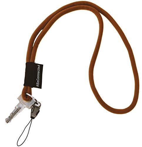 NRM-Products Schlüsselband lang als Schlüsselanhänger (braun schwarz - 45cm) - Band mit Ring für Schlüssel, Ausweis, Handy, Kamera - Lanyard für Damen, Herren & Kinder (Braun)