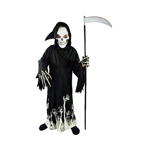 Spooktacular Creations Vestito Halloween Bambino Vestito Scheletro Bambino Luminoso Grim Reaper Glow in The Dark Deluxe Phantom Costume Fancy Dress per Bambini (Large, Black)