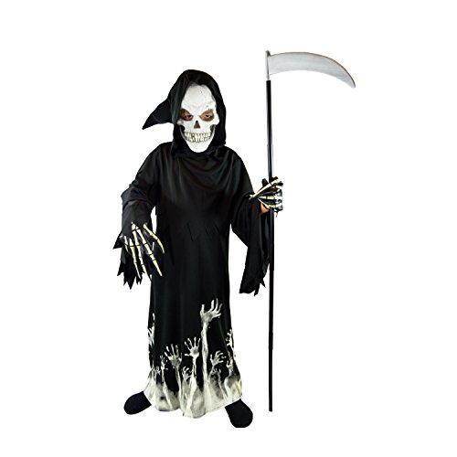 Spooktacular Creations Vestito Halloween Bambino Vestito Scheletro Bambino Luminoso Grim Reaper Glow in The Dark Deluxe Phantom Costume Fancy Dress per Bambini (Large, Black)
