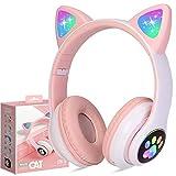 Kinderkopfhörer Bluetooth, Mädchen Katzenohr Kopfhörer Over-Ear mit LED-licht Faltbare Stereo Kopfhörer Kabellose, Kopfhörer Kinder mit Mikrofon, Micro SD/TF, für Handy/Tablet/PC (Rosa)