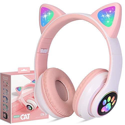 Kinderkopfhörer Bluetooth, Mädchen Katzenohr Kopfhörer Over-Ear mit LED-licht Faltbare Stereo Kopfhörer Kabellose, Kopfhörer Headsets für Kinder mit Mikrofon, Micro SD/TF, für Handy/Tablet/PC/TV