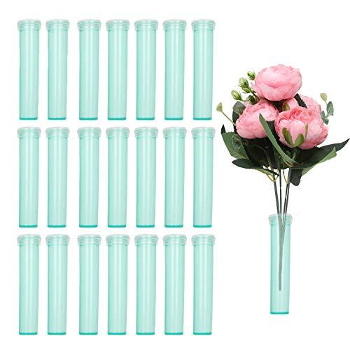 200 PCS Rose Flower Water Tubes, Floral Water Vials, Floral Water Tubes, Green Floral Water Picks, Flower Vials, Milkweed Cuttings Vials, Clear Green Plastic Tubes for Flower Arrangements