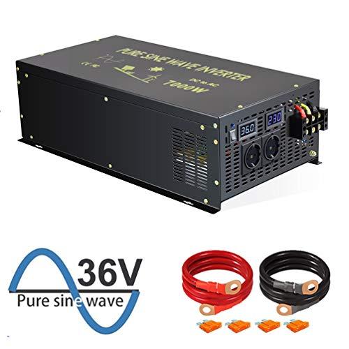 WZRELB 7000W Reiner Sinus-Wechselrichter 36V DC bis 230V 240V AC mit deutschem Standardstecker für Haushaltsgeräte Sonnensystem RV Camping für Wohnmobile, Autos, Camping, Reisen(7000w36V)