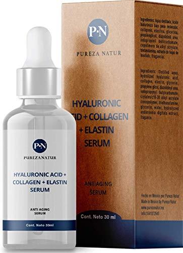 Serum de Ácido Hialuronico + Colágeno y Elastina para la cara y piel | Suero anti aging, para ojeras y arrugas