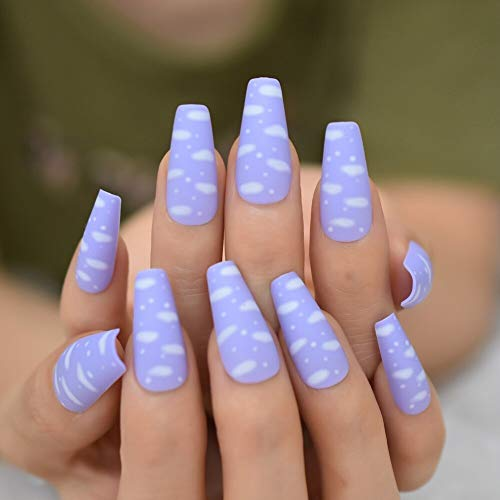 CoolNail Sky White Cloud Baby Purple Press on False Nails Long Ballerina Coffin Popular Matte Frosted Fake Fingersnails Extention Tool