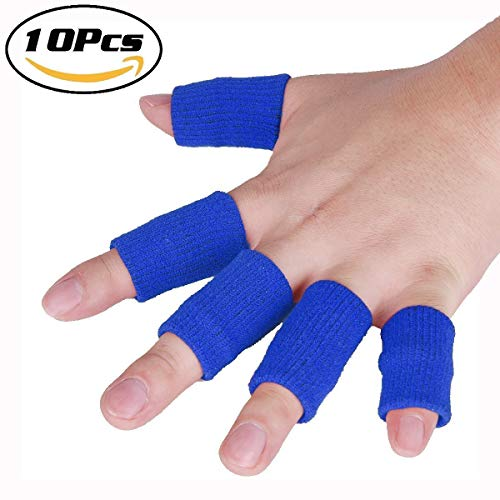 JoyFit 10 pcs. Finger Brace Support - Adjustable Pain Relief & Sleeve Protector with Soft Comfortable Cushion Pressure for Cricket, Volleyball, Gym, Table Tennis & Sports Activities for Men & Women