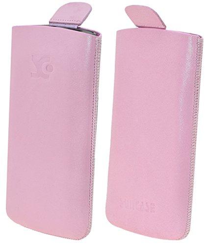 Original Suncase Etui Tasche für / Bea-fon SL340 / Beafon SL340i / Leder Etui Handytasche Ledertasche Schutzhülle Hülle Hülle Lasche *mit Rückzugfunktion* rosa