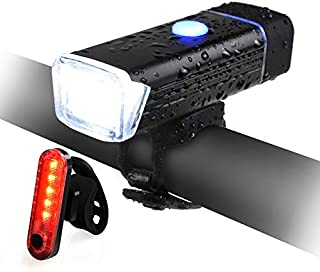 QIANXIANG Bike Light Set, Bicycle LED Headlight and...