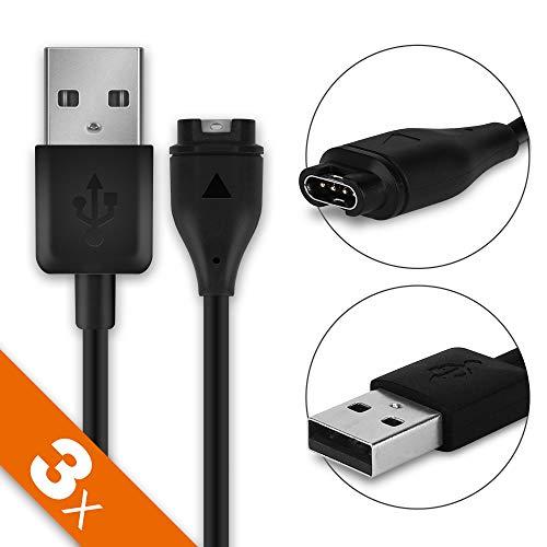 subtel 3X USB Kabel () kompatibel mit Garmin Fenix 5, 5X, 5X Plus, 5S, 5S Plus/Vivoactive 3, 3 Music/Vivosport/Forerunner 245, 245 Music (System Connector auf USB A) Ladekabel schwarz